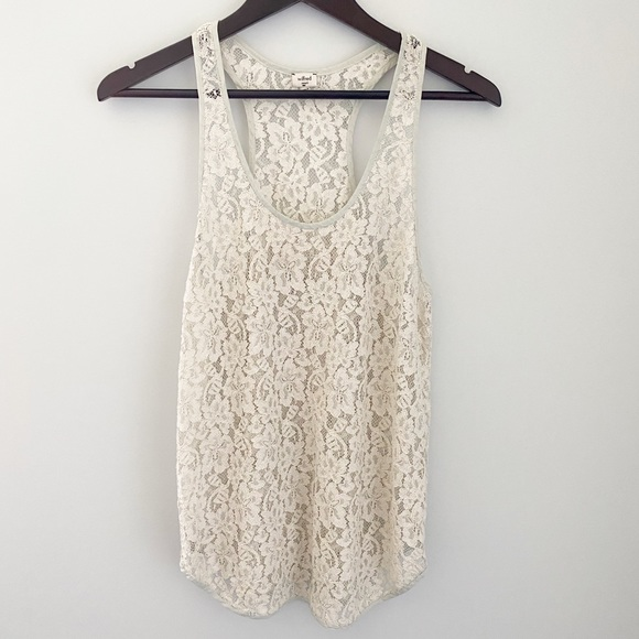 Wilfred Ivory/Cream Metallic Racerback Lace top -S